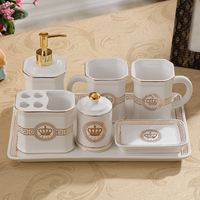 Lotion dispenser Toothbrush holder Soap dish Rinse cup Tray Set Bathroom set ceramic Bathroom accessory set household products