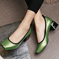AIWEIYi Shoes Woman Slip On Sexy High Heels Genuine Leather Pump Shoes Square Toe Women Platform Shoes Ladies Pumps Green Red