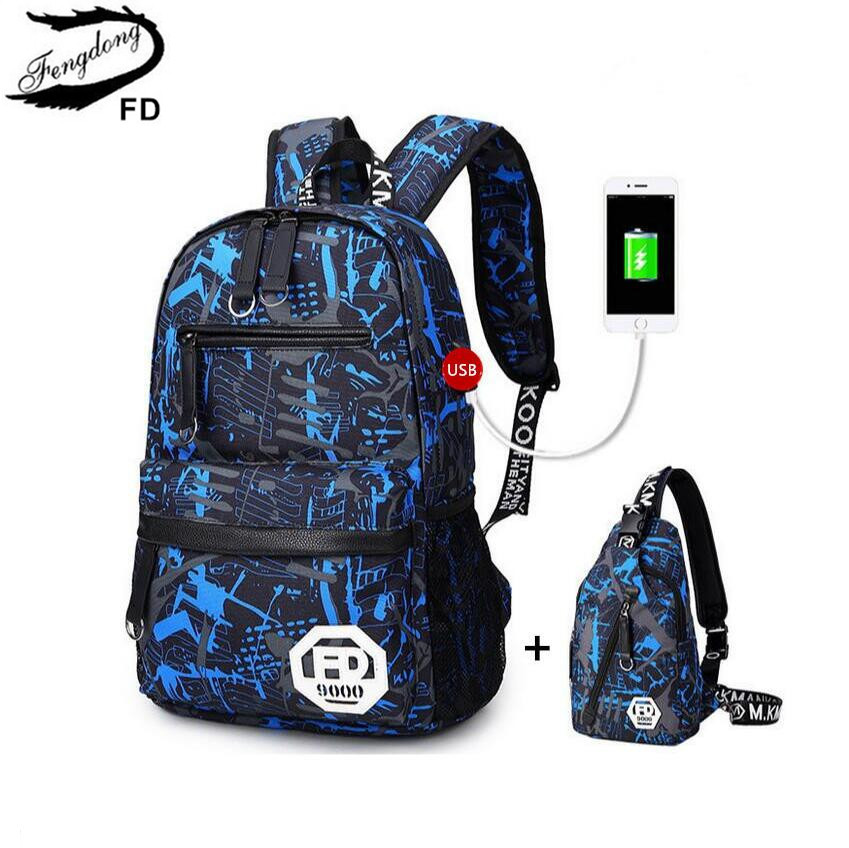 FengDong Men USB Backpack male chest bag College Student travel backpack high School Bags for Teenagers  Casual Rucksack Daypack 2017 summer high capacity chest bag for men