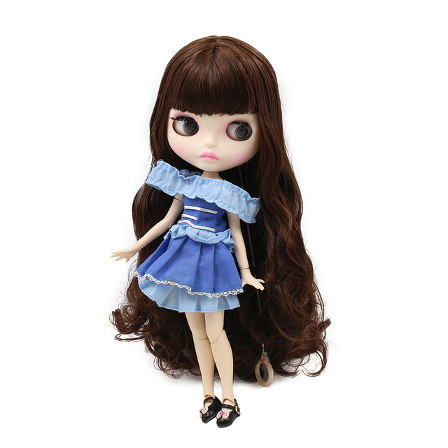 Blyth nude doll 30cm white skin Wild fashion brown long curly hair 1/6 JOINT body new matte face ICY DIY toy BL0312
