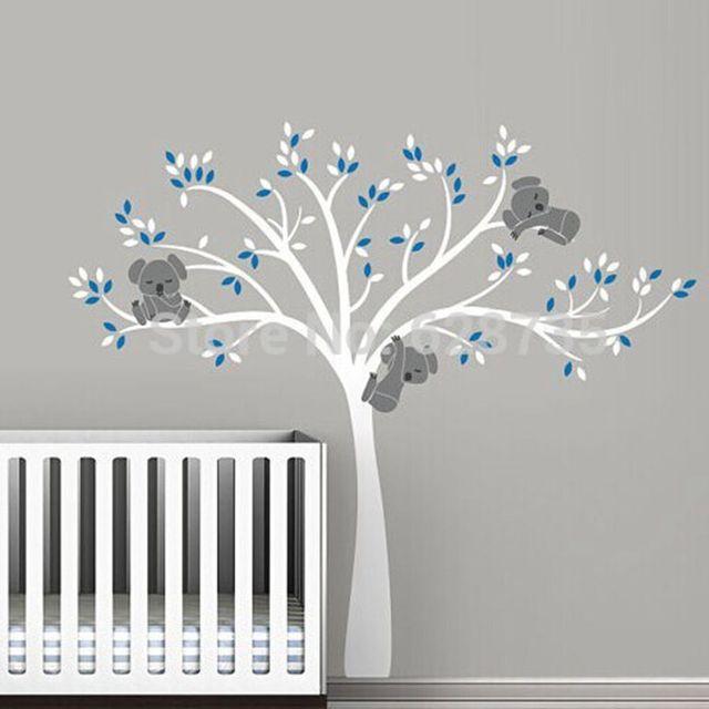 Livraison gratuite surdimensionn grand koala arbre stickers muraux pour b b p pini re b b for Pochoir chambre garcon