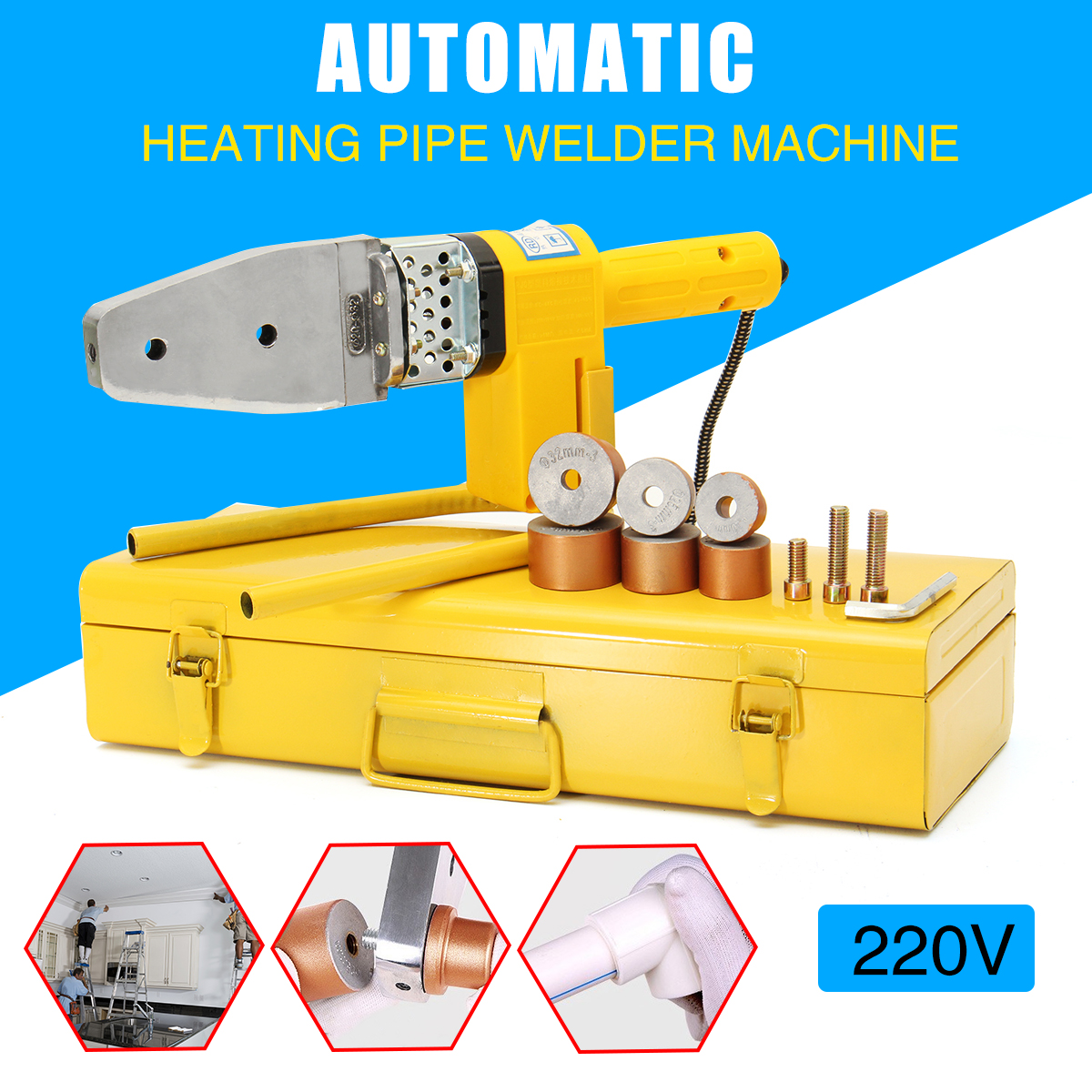 220V 8Pcs Electric Hot Welding Machine Heating Tool PPR PE PP Tube Pipe Welding Machine Electric Welding Tool Accessories 220v 600w pipe welding machine temperature controlled heating ppr pe pp tube pipe welding machine heads kits