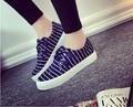 Возраст сезон темно-парус ткань синий обувь женский большая база губка классический полосой один низкий помощь студенты ткань обувь повседневная обувь