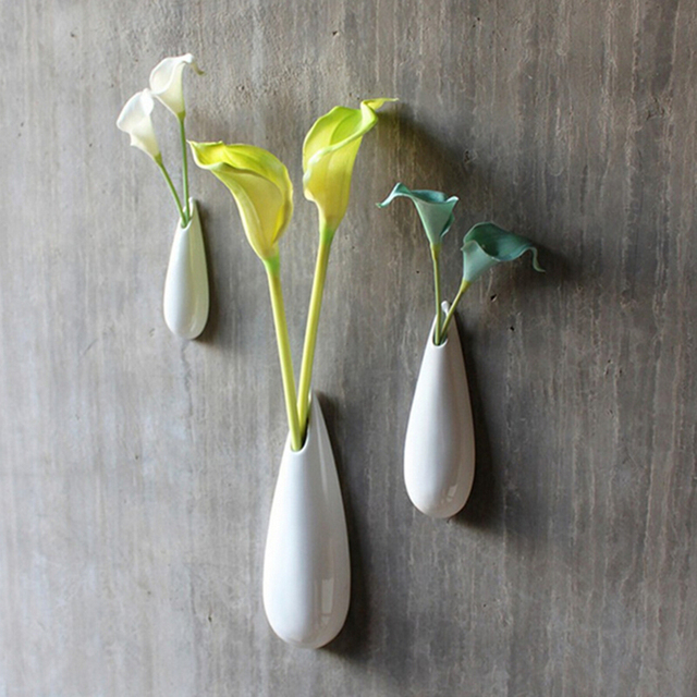 High Quality White Modern Ceramic Wall Vase Piece Set Drop Style Flower Gift Home Decoration