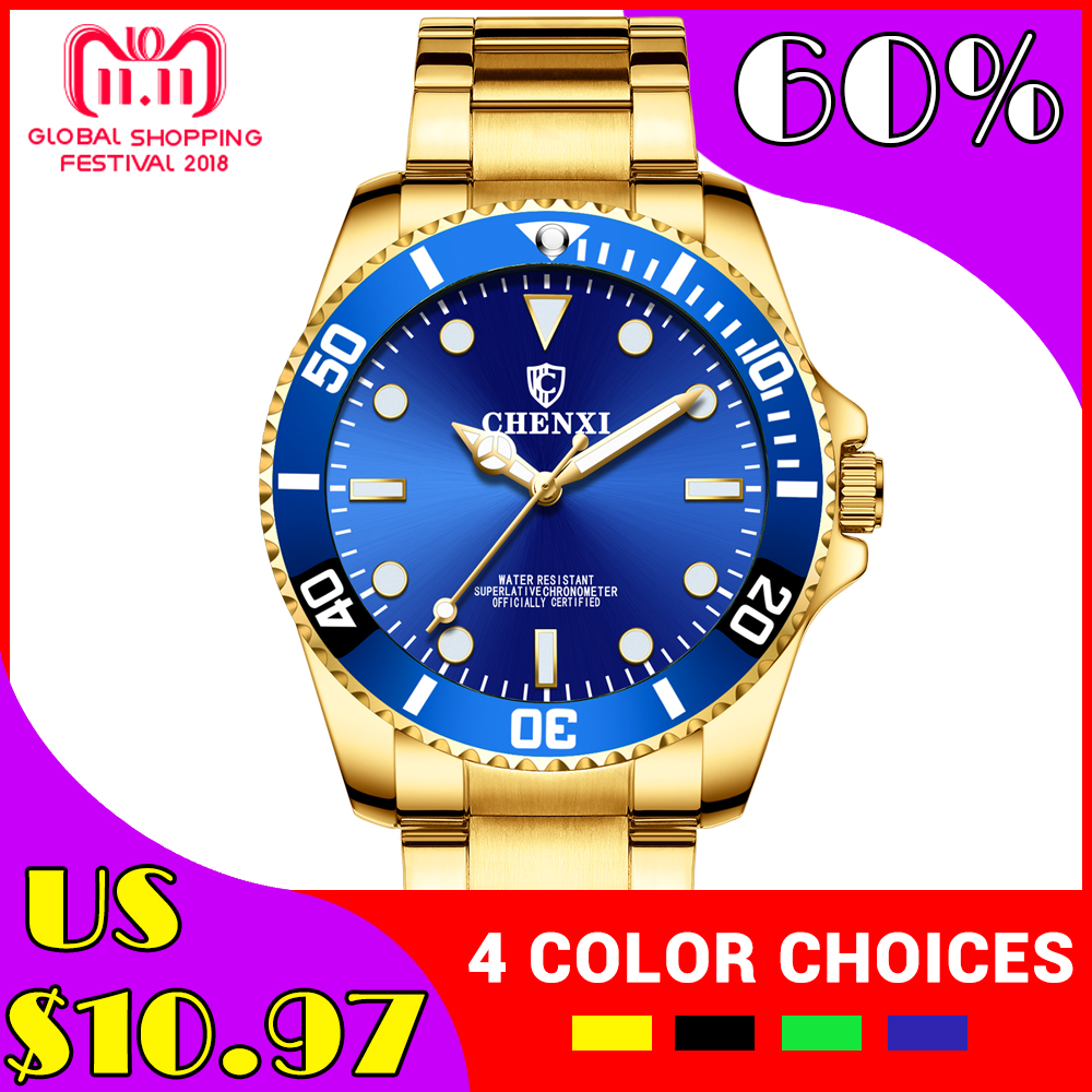 купить CHENXI Men Golden Watch Top Luxury Brand Stainless Steel Strap Quartz Wrist watches Male Sports Clock Watches relogio masculino