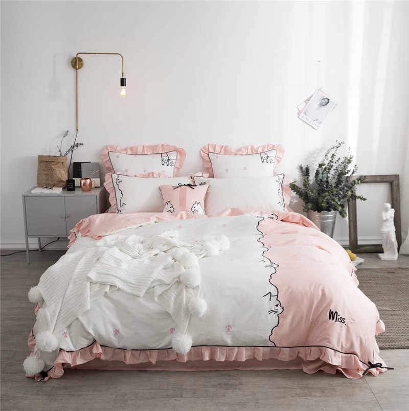 4/7pc Egyptian cotton cute cat Embroidery Bedding Sets Size for Queen king Bed Linen Bed Sheets Duvet Cover Set for girls