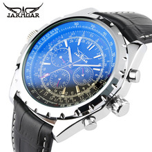 JARAGAR Fashion Brand Business Watch Men Luxury Crocodile-Embossed Leather Wrist Watches Automatic Mechanical Calendar Men Clock цена