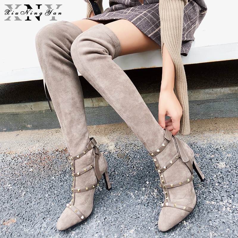 XIUNINGYAN Spring Autumn Winter Shoes Women Over Knee High Boots Women Thin High Heels Pointed Toe Slip on Fashion Woman Boots hot woman knee high boots fashion woolen 3 styles slip on solid wedge boots autumn and spring shoes women 1965