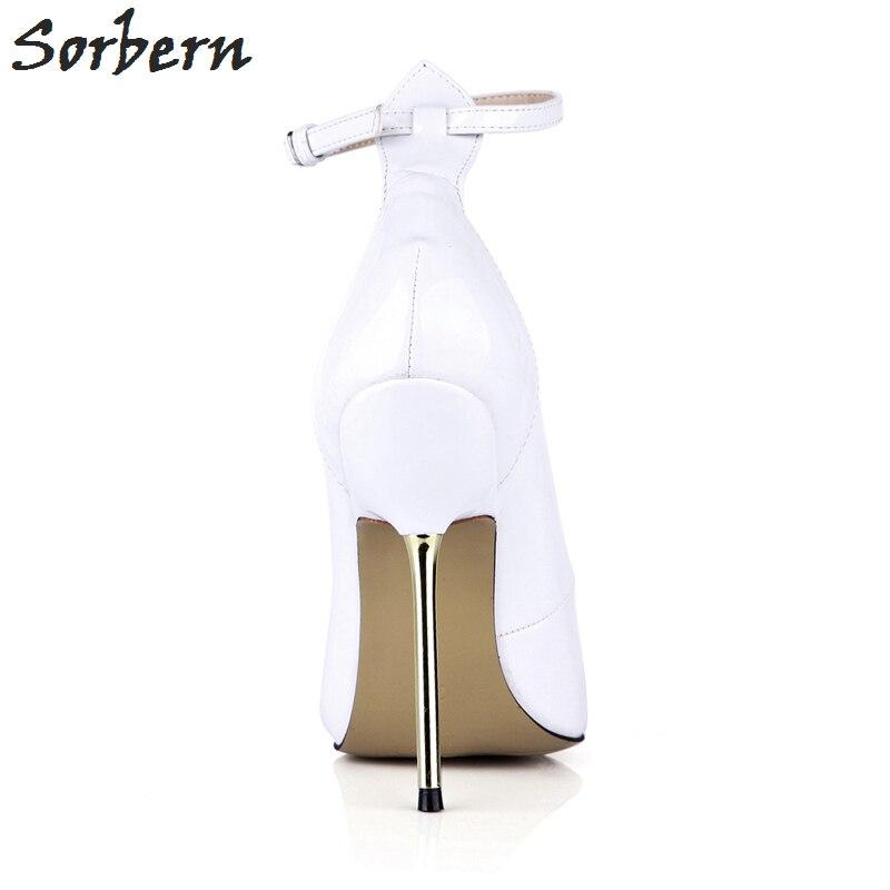 Sorbern tacones blancos Punta de puntera Vintage zapatos de mujer zapatos de baile tacones sexis correas de tobillo zapatos de moda personalizados 2018 de lujo para mujer - 6