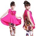 Conjunto de roupas meninas bohemia padrão de flor de impressão sem mangas dress & leggings crianças Terno Crianças Roupas de Verão 6 8 9 10 12 Anos