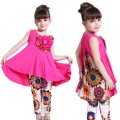 Girls Clothing Set Bohemia Print Flower Pattern Sleeveless Dress & Leggings Kids Suit Summer Children Clothes 6 8 9 10 12 Years