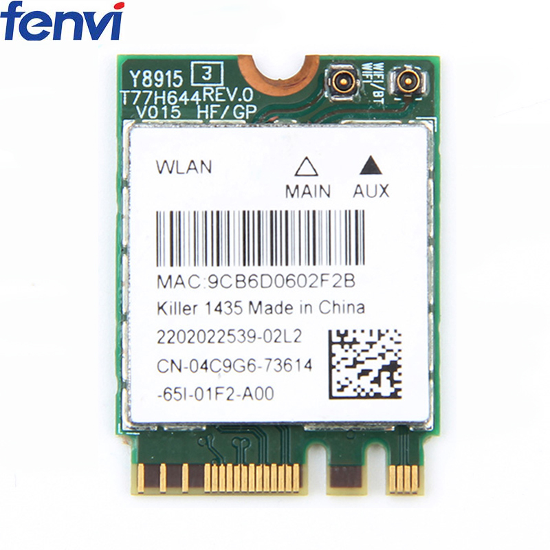 Wireless Killer 1435 Dand Band 867Mbps WiFi Network Card Atheros QCNFA344A 802.11ac Bluetooth 4.1 Better Than Intel 7260