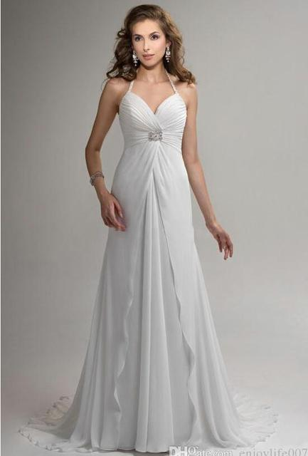 2016 Empire Beach Wedding Gowns Backless Halter Beaded Rouched Chiffon Court Train Garden Wedding Dresses for Pregnant Women