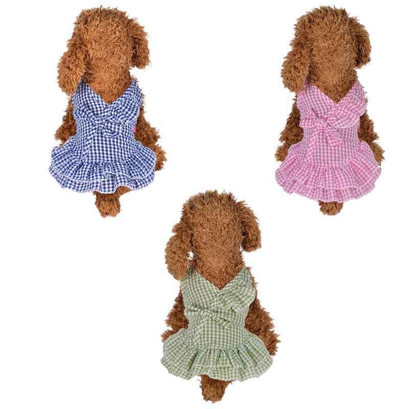 Pet Primavera Verano vestido pequeño moderno tira de sujeción con muelles vestido ajustado cómodo transpirable hermosa ropa de perro suministros para mascotas