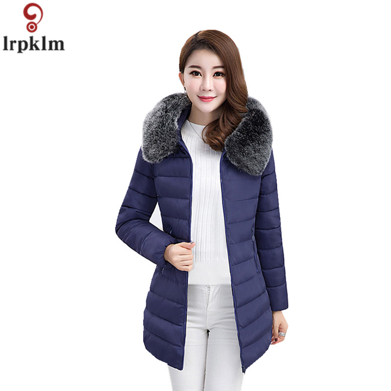Women Coat Winter Long Plus Size 7XL Big Fake Fur Collar Hooded   Parka   Women Winter Jackets Cotton Padded Coat 2018 New CH718
