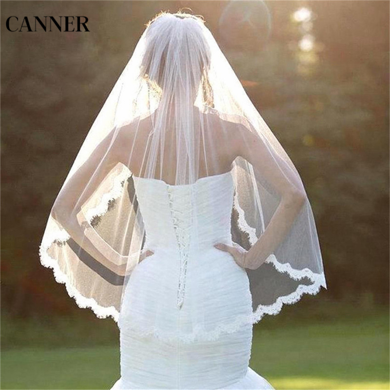 Canner Women Wedding Accessories White Lace Flower Veil 1 Layers Tulle Ribbon Edge Bridal Veils
