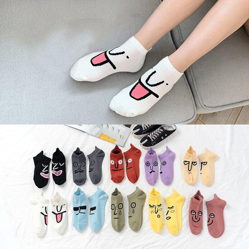 1Pairs New Women's Jacquard Socks Funny Expressions Kawaii Socks Spring Summer Socks Invisible Anti-slip Socks