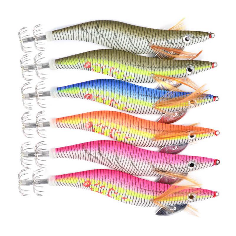 6 stücke Luminous Tintenfisch Jigs Köder Fest Angeln Lockt 2 #2,5 #3 #3,5 #4 # Tintenfisch köder Jig Haken Bionic Crankbait Swimbait weihefishing
