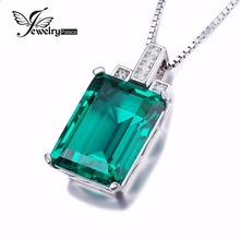 JewelryPalace Luxury 6ct Created Green Nano Russian Emerald Pendant font b 925 b font Sterling font