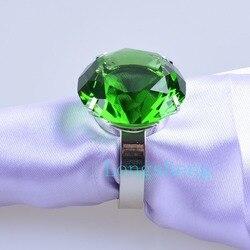 Anneaux de serviette en verre de cristal et diamant   Faux diamant émeraude vert