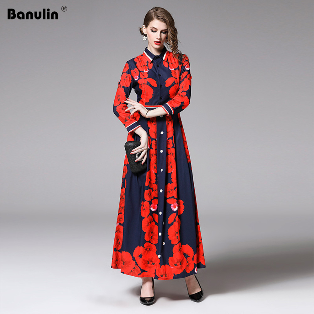 Banulin New Arrival 2019 Spring Womens Turn Down Collar Vintage Long Dress Red Flowers Print Maxi Runway Vestidos