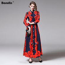 Banulin New Arrival 2019 New Spring Women's Turn Down Collar Vintage Long Dress Red Flowers Print Maxi Runway Dress Vestidos 2019 new arrival autumn women vintage pattern print runway maxi dress female turn down collar long sleeve casual long dress