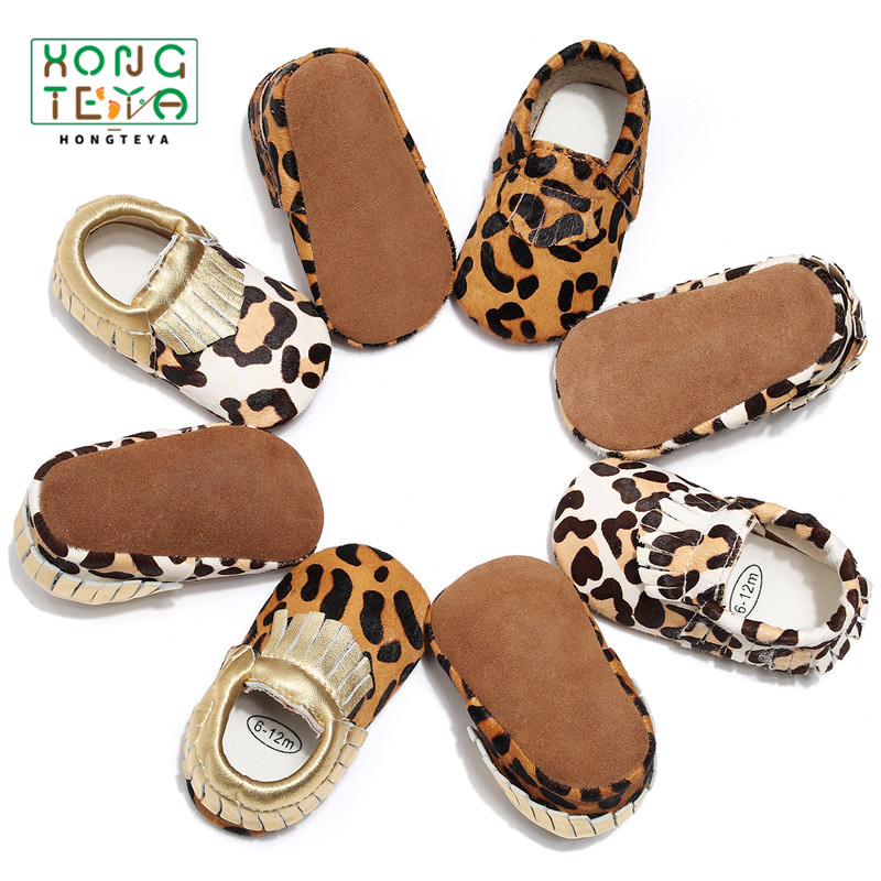 b4905ab29b13 Genuine Leather Baby Shoes Leopard Print Baby Moccasins Horse Hair Baby  Boys Girls First Walkers Baby Girls Soft Crib Shoes