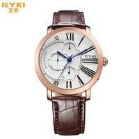 Luxury Brand Quartz Watch EYKI Fashion Men Quartz Watches Week Date Clock Leather Strap Male