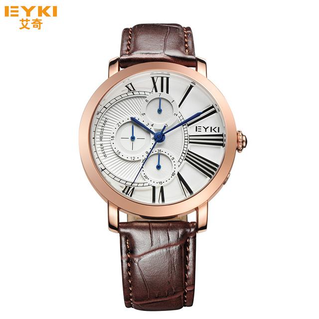 Homens De Quartzo-relógio de luxo Da Marca EYKI Moda Quartzo Relógios Semana Data Pulseira De Couro Relógio Masculino Relógio de Pulso Relogio masculino Reloj