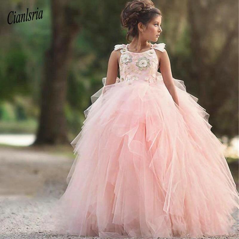 Очаровательное светло Розовое Бальное Платье с цветочным узором для девочек; Многослойная юбка на бретельках с аппликацией и оборками; пра