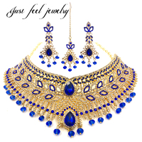 Luxury Ethnic Indian Gold Plated Jewelry Sets Attractive Necklace Choker 3Pcs Bridal Jewelry Sets For Women