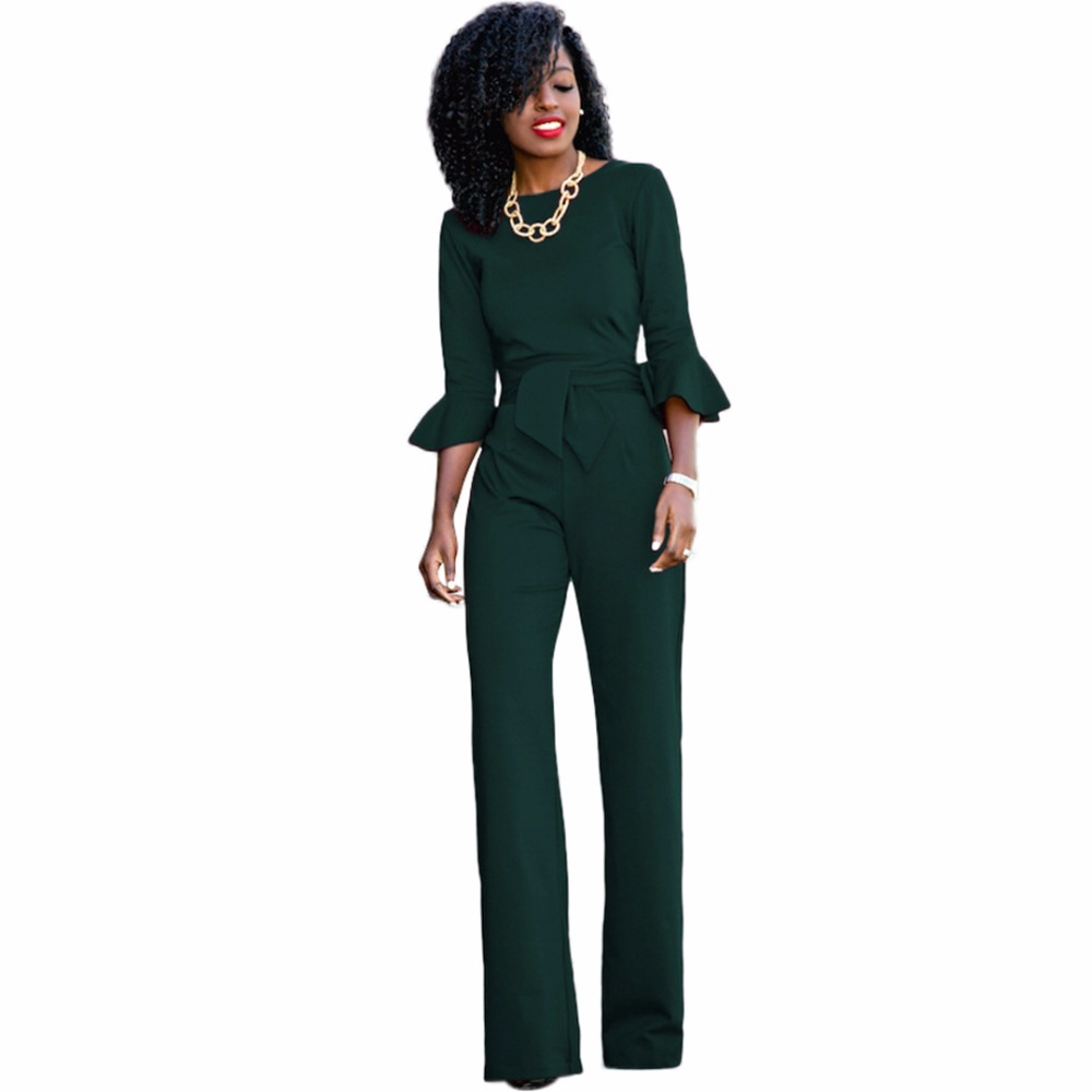 82f210a0755e Red black Rompers Womens Jumpsuit Autumn Flare Sleeve Sashes Elegant ...