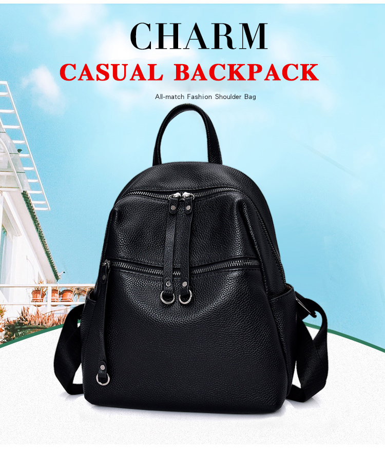 Mink fur top layer cowhide backpack Lady bags Leather fur traveling Leisure bag