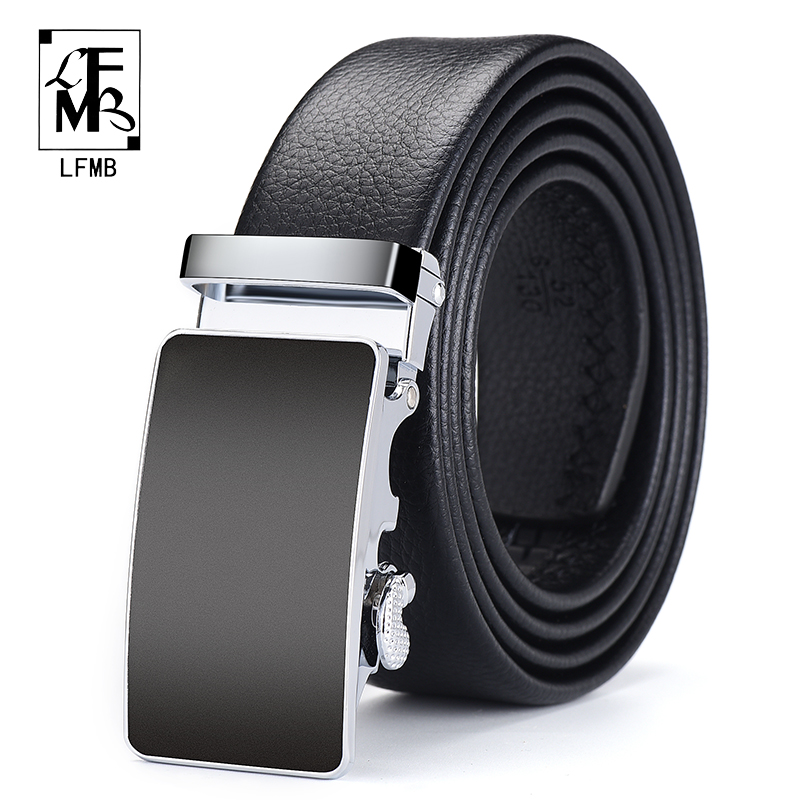 [LFMB]Men Belt Automatic Genuine Leather Luxury Black Belt Men's Belts Automatic Buckle High Quality Belt Cummerbunds Male