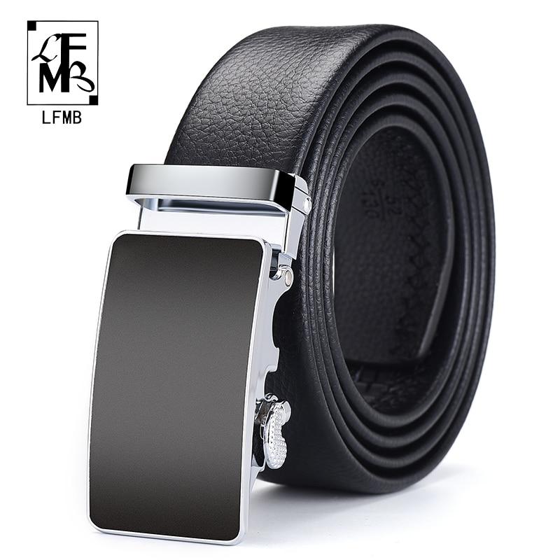 [LFMB]Men Belt Automatic Genuine Leather Luxury Black Belt Men's Belts Automatic Buckle High Quality Belt Cummerbunds Male