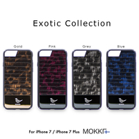 For iPhone 7 7 Plus Luxury Lizard Skin Pattern Phone Case Original MOKKA Exotic Collection Metal Music Fashion Trend Back Cover