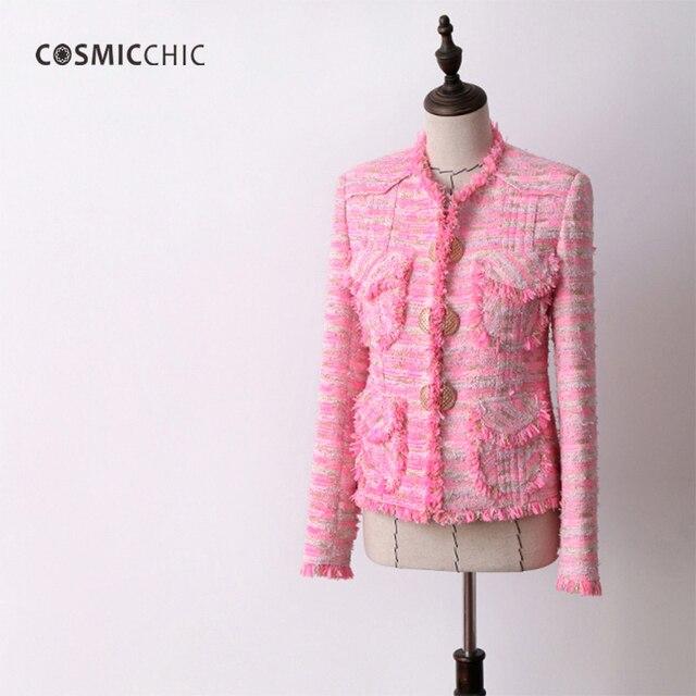 Cosmicchic Pink Tweed Jacket Long Sleeve Stand Collar Wool Ladies Jackets  Elegance Coat Office Wear LY151