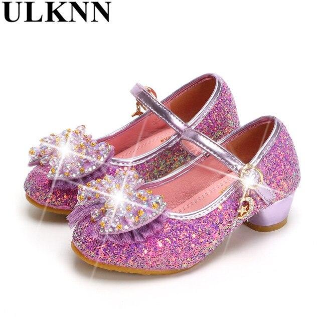 6e44fe4d6fd03 ULKNN Filles haute talons Vente Chaude Printemps nouveau enfants princesse  chaussures petite fille chaussures violet chaussures