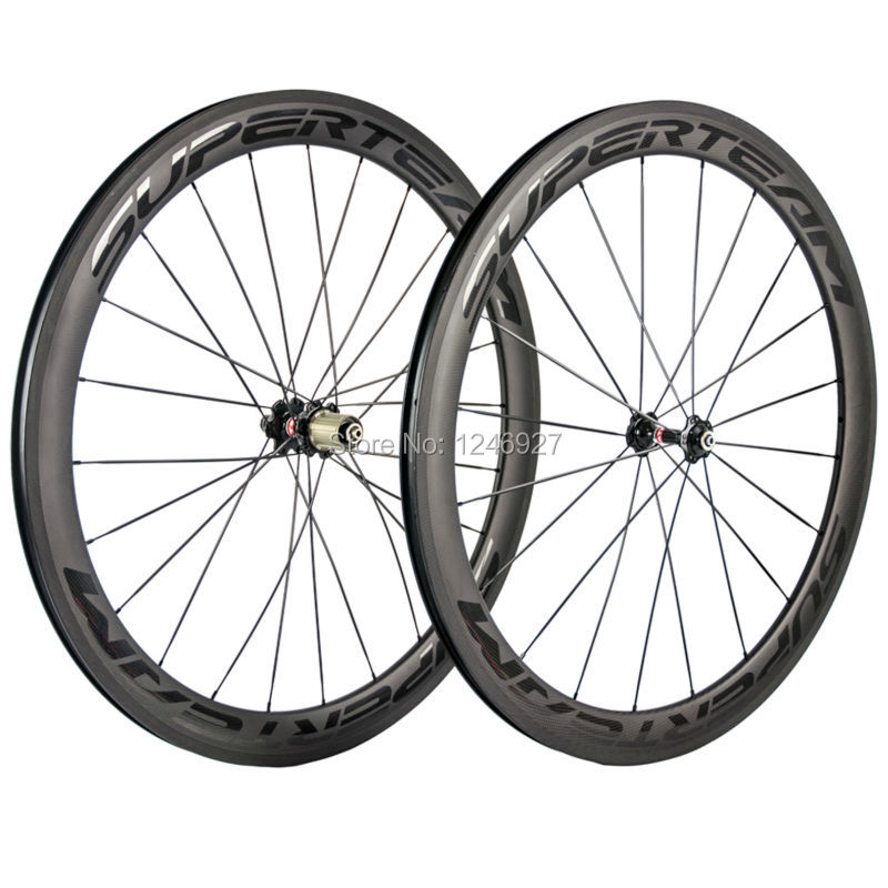 Superteam 50mm Clincher Carbon Wheels Front&Rear Glossy Letter Road Bike Carbon Wheelset Racing Bike/Bicycle