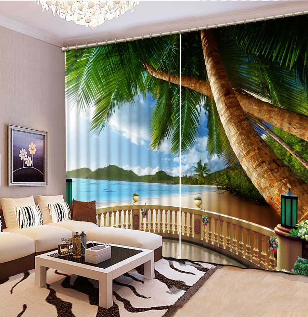 Beach Window Curtains Part - 42: Blackout Window Curtain For Living Room Bedroom Sheer Curtains Coconut Beach  Landscape 3D Curtain For Bedroom