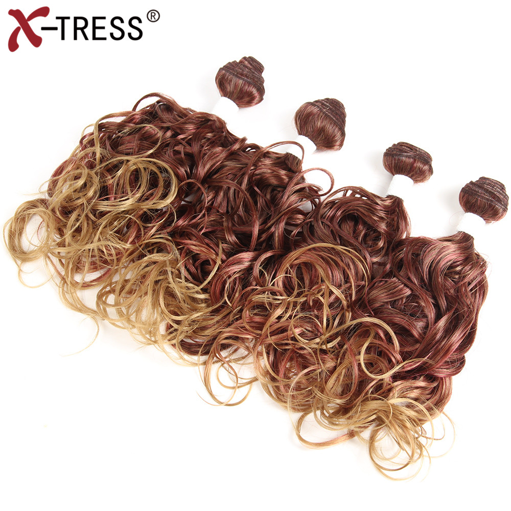 X-TRESS Synthetic Hair Bundles Heat Resistant Weaving 16161616Bouncy Curly Weaves Hair Extension High Temperature 4pcs/lot