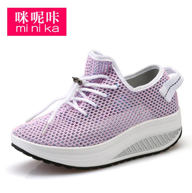 2017 New Casual Shoes Woman Low Top Height Increasing Slimming Swing Shoes Summer Breathable Air Mesh Platform Walking Shoes height increasing swing shoes 2015 women breathable air mesh casual shoes woman summer slip on platform wedge walking shoes