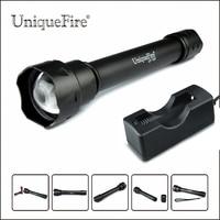 Uniquefire uf-1501-xre recarregável 18650 lanterna led 3 modos de 300 lumens da lâmpada tocha g/r/w luz + 18650 carregador para hnting