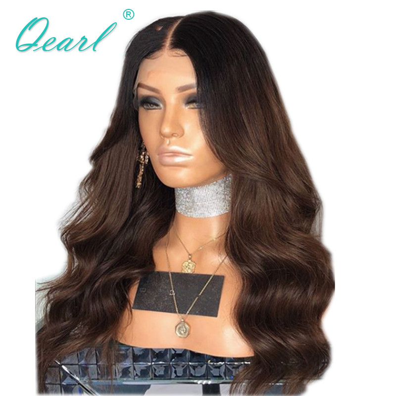 360 Lace Frontal Wigs Ombre Brown Color with Dark Roots Wavy Remy Hair Lace Wig Long