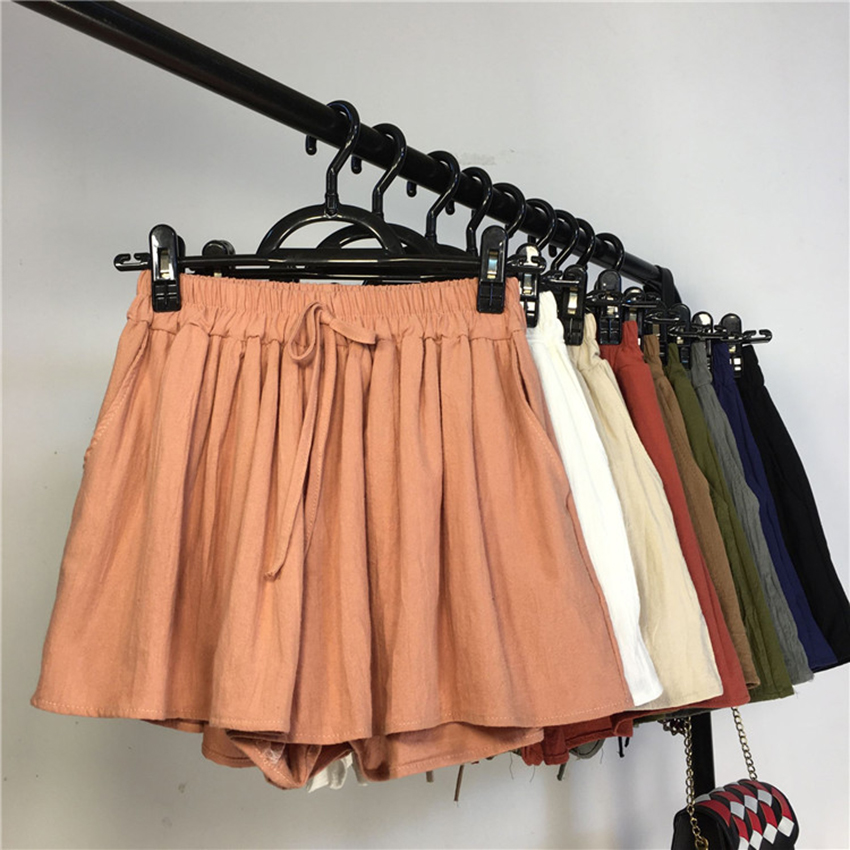 New Summer Solid Loose Cotton Linen   Shorts   Women Elastic High Waist Wide Leg   shorts   Casual All-Match Thin Female   Shorts   OL Mw318