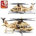 Nueva Original Sluban Building Blocks Establece Ladrillos Modelo de Avión Militar helicópteros Black Hawk Juguetes Compatibles Con Lego