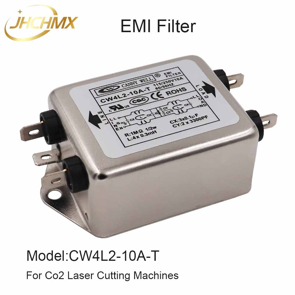 JHCHMX High Quality Power EMI Filter CW4L2-10A/15A/20A-T Single Phase AC 115V/250V 50/60HZ For Co2 Laser Cutting Machines