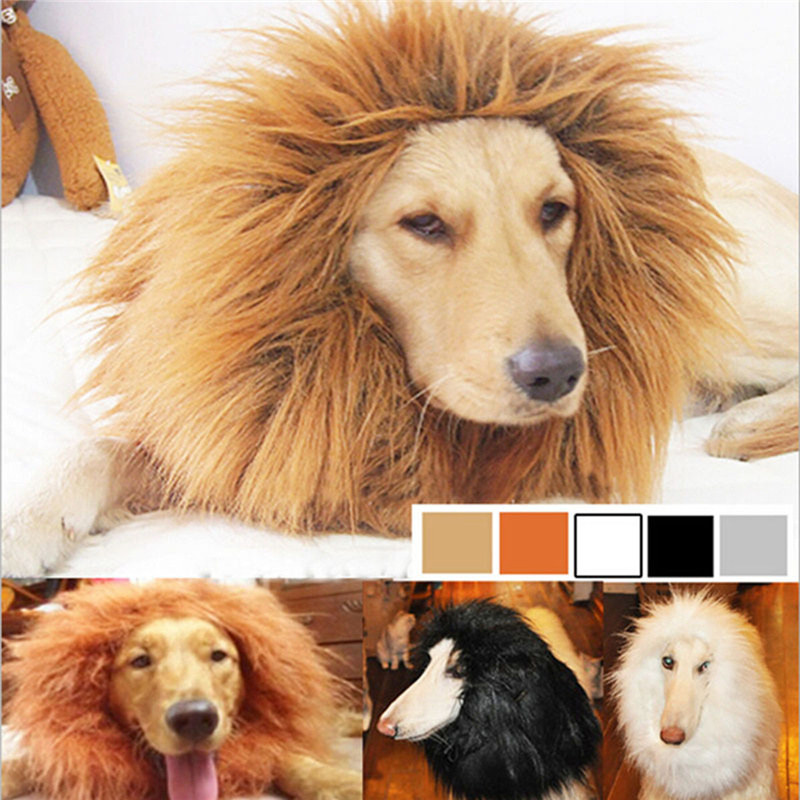 Plush Large Dog Products Furry Pet Costume Lion Mane Wig For Cat Halloween False Hair Dressed Lions Pets Accessories Cats Dogs