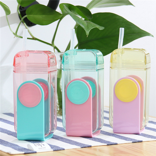 300ml New Creative Straw Water Bottle with Silicone U Shape Cute
