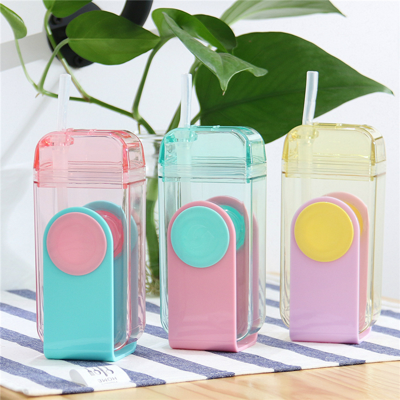 300ml New Creative Straw Water Bottle with Silicone U Shape Cute Water Bottle for Students Sports and Travel BPA Free
